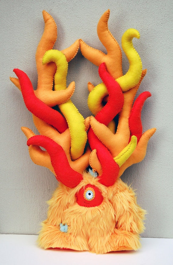 Fire Monster - Survival Monster Series - Handmade plush monster