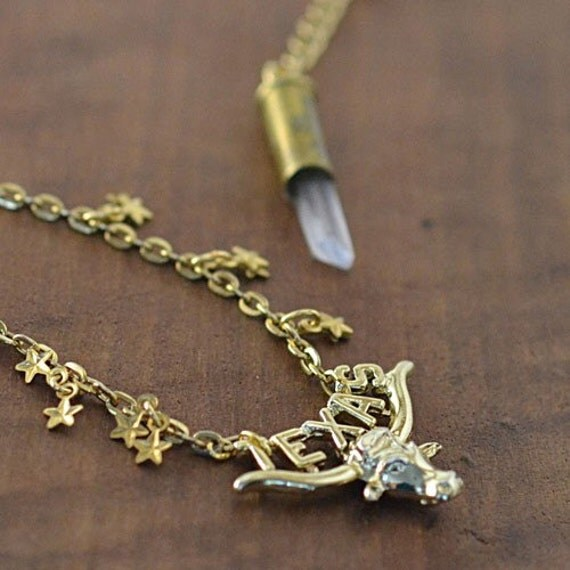 Quartz crystal .22 caliber bullet necklace  - Don't Mess with Texas longhorn and stars