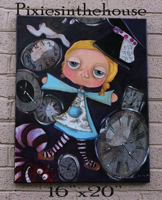 Alice Lost in Time Original Mixed Media