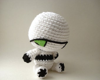 Marvin - The Paranoid Android - Robot Amigurumi Art Doll - Made to Order