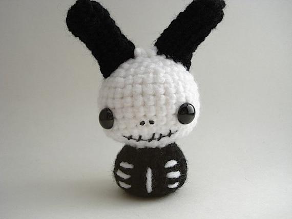 Skeleton Moon Bun Bunny Rabbit Amigurumi Smile