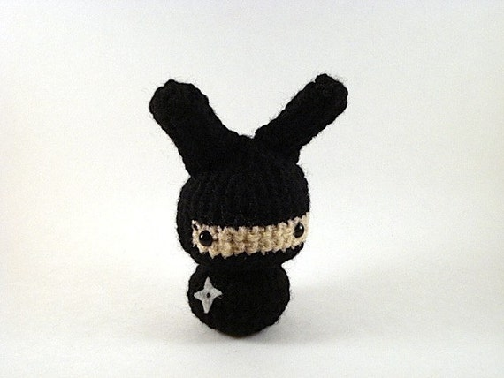 Ninja Moon Bun - Amigurumi Bunny Rabbit - Black
