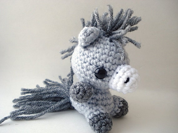 Grey Pony Amigurumi Doll