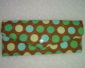 Blue Green and Brown Dottie Clutch