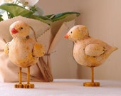 Chick Chick Chick Paper Mache on Wooden Feet