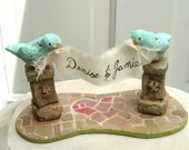 Love Birds in the Garden Cake Topper with Blue Birds by MFAS
