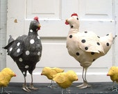 Polka Dot Hen Chicken Black White Fork Feet