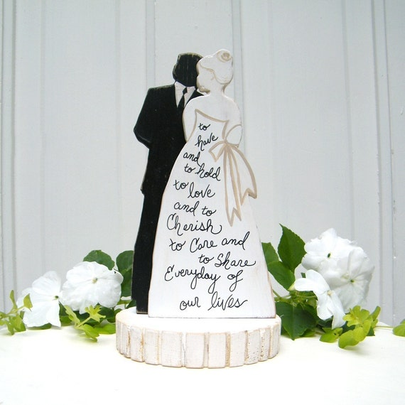 Bride And Groom Silhouette Wedding Cake Topper