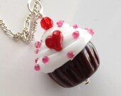 New Valentine's Day Glass Cupcake Pendant Only