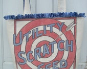 vintage Pratt's UTILITY Scratch Feed chicken feed sack tote - Gussied Up Tote