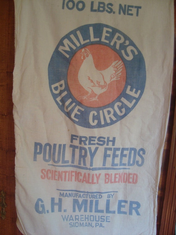 vintage MILLER's Blue Circle chicken feed sack Tote - Plain & Simple OR Gussied Up - custom made
