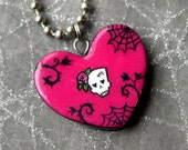 Dead Rose Skull Heart Pendant with Ball Chain