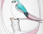 Original Illustration-Bird Drawing-5x7 - Green Tweet