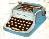 Blue Vintage Typewriter Art Print 8x10 - Royal Typewriter