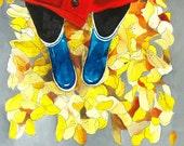 Art Print - Print of Painting - 8x10 Art Print - Wall Art - Home Decor - Fall Art - Autumn Leaves - Print of Winter Boots - Fallen LEaves