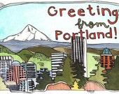 Postcards - Set of Postcards - Portland Oregon Postcards - Illustrated Portland Postcards - Set of Three Portland Postcards
