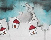 Houses - Homes - Watercolor Painting - Illustration - In This Together