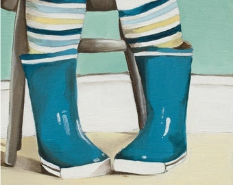 Self Portrait - Art Print - Blue Boots Art Print - Rain Boots - Blue Wellies Print - Print of Painting - 8x10 Print - My Blue Boots