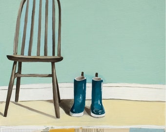 Art Print -  Chair Art Print - Print of Painting - Boots and Chair Still Life Art - 8x10 Print - Friends