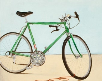 Art - Bicycle Art - Bike Print - Bike Art - Art for Cyclist - Schwinn Bike Print - Green Bike Print - 8x10 Art Print - Green Lightening