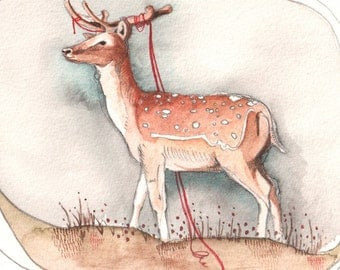 Art Print - Wall Art - Print of Deer - Home Decor - Deer Print - Watercolor Print - 5x7 Print - Sometimes I Still Need You by Michele Maule