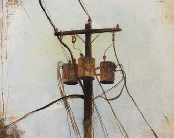 Art Print - Power Lines Art Print - Print of Painting- Print of Oil Painting - Wall Decor - Home Art - 8x10 Art Print - Power Line