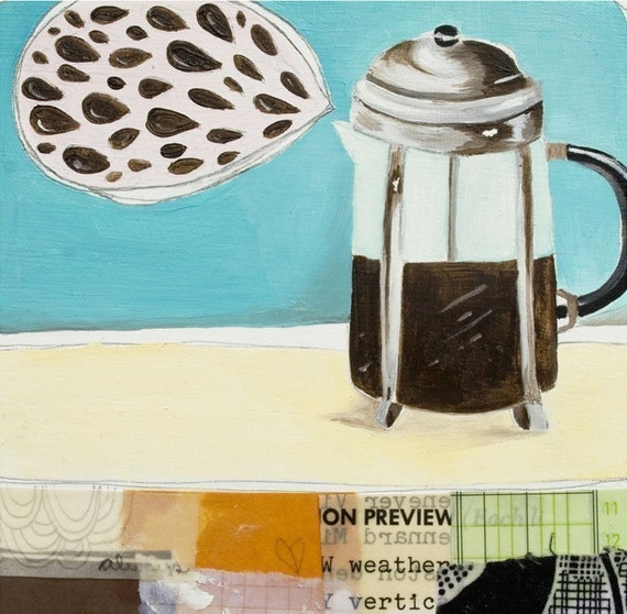 Art Print - Wall Decor - Coffee Art - Art for the Kitched - French Press Print - Print of Painting - 5x7 Print - I Heart Coffee