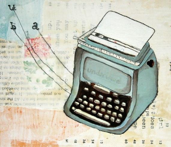 Art Print - Typewriter Art - Print of Typewriter Painting - Print of Painting - Underwood Typewriter Print - 5x7 Print - Underwood