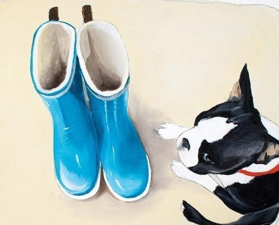 Boston Terrier Art Print  8x10 - Still