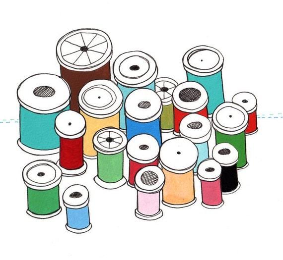 SALE - Thread Art, Spool Art, Spool Illustration, 5x7 Spool Art, Gift for Seamstress, Spools of Thread - Its Okay I Do My Own Thing