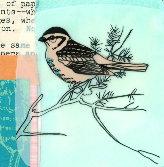 Limited Edition Collage Bird art Print - Sparrow number 29/30
