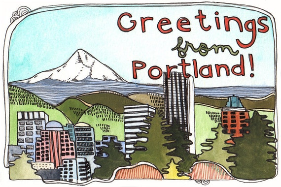 Portland Postcards - Postcards - Set of Postcards - Oregon Postcards - Illustrated Portland Postcards - Set of Three Portland Postcards