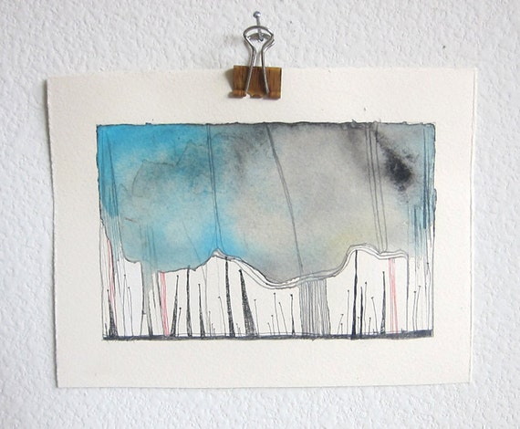 Watercolor Abstract Landscape Painting on Paper - Heavy Weight