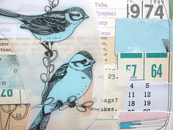 Bird art Mixed Media Collage - You Can Stay as Long as You Need