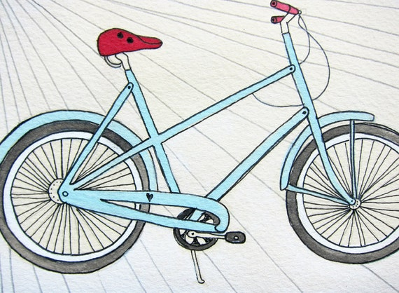 Bicycle illustration gouache paint and ink  original 5x7 - Bike Love