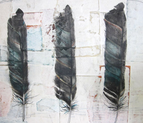 Feather Art, Encaustic Oil Painting, Mixed Media Painting, Painting, Art, Feathers, Collage - Three Sisters