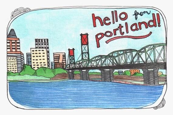 Portland Oregon Postcards, Portland Illustrated, Cards, Illustrated Cards, Travel Portland, Portland Vacation, Set of 5 Portland Postcards