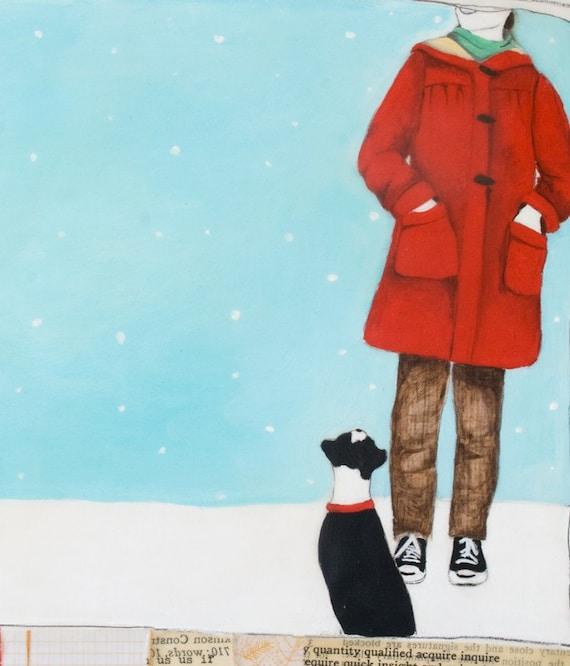 Original Mixed Media Painting 10x10-Winter Friend