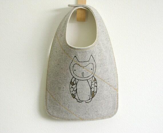 owl bib, handmade with organic fabric