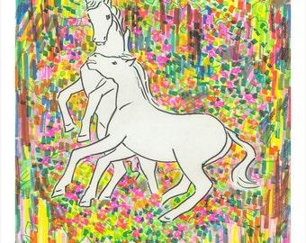 Art Print, White Horses, Mythical, Colorful, Paradise, Couple, Wall Art, Nature, Unicorn, Eco-Friendly, Island, Wild, Horse, Kaleidoscope,