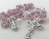 Catholic Rosary Lilac Crackle Beads