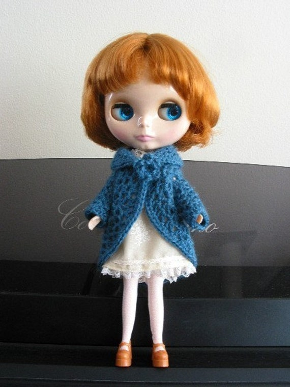 Crocheted Alpaca Wool Cashmere Teal Coat for Blythe