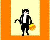halloween card small black cat greeting card