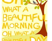 Matted print oh what a beautiful morning hand cut type cheery illustration
