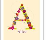 Custom Initial letter print  8 x 10 in 11 x 14 inch mat pastel flowers