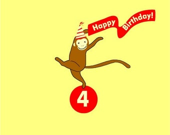 little monkey custom birthday card