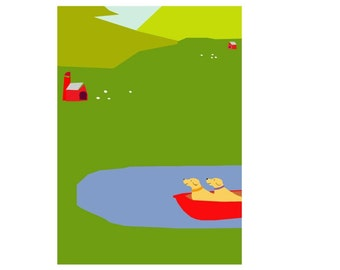 note cards yellow labs in red rowboat illustrated notecards
