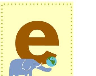 alphabet print Letter E nursery decor
