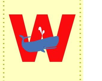 Letter W nursery alphabet print