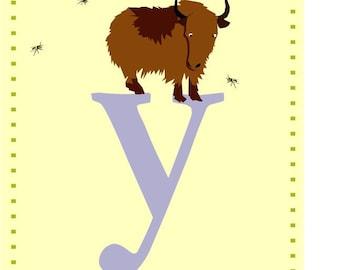 letter Y nursery alphabet print card